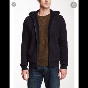 Vince | Hooded Leather Trimmed Hoodie Sherpa lined